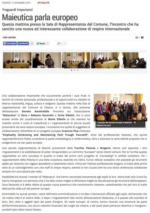 FasanoLive.com - Presentazione ufficiale Erasmus Plus