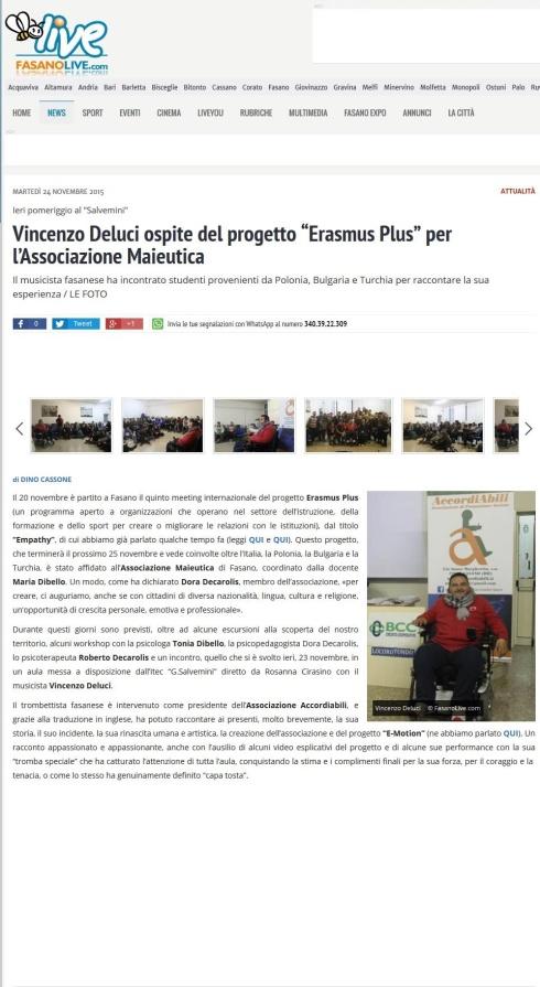 Vincenzo Deluci ospite del progetto Erasmus Plus